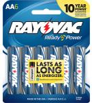Rayovac 815-6E Alkaline AA Batteries 6 Pack Card
