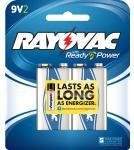 Rayovac A1604-2D  Alkaline 9 Volt Batteries 2 Pack Card