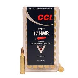 .17 Hornady Magnum Rimfire (HMR) HMR TNT Ammunition, 17 Grains, TNT Jacketed Hollow Point (JHP), Per 50