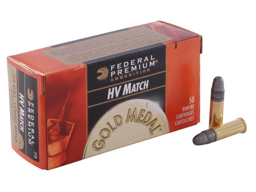 22 Long Rifle Premium Gold Medal Target, High Velocity, 40 Grains, Lead Round Nose, Per 50