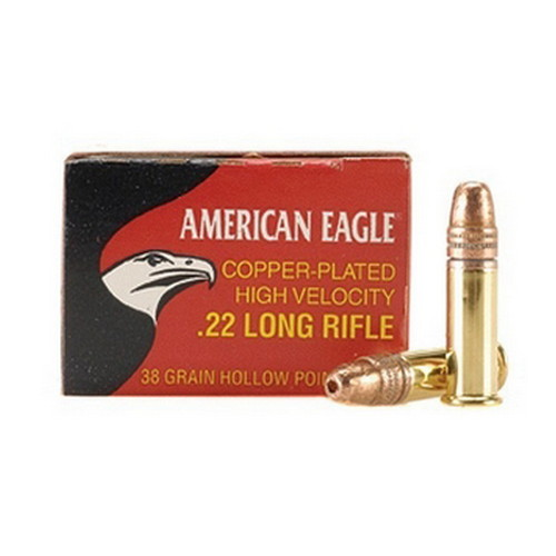 22 Long Rifle American Eagle, High Velocity, 38 Grains, Plated Lead Hollow Point, Per 40