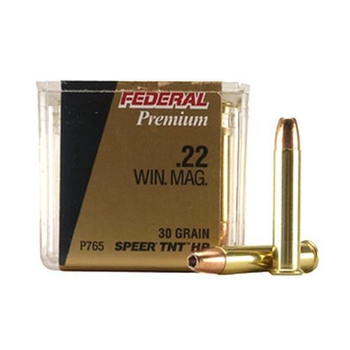 22 Winchester Magnum Premium V-Shok, 30 Grains, Speer TNT Jacketed Hollow Point, Per 50