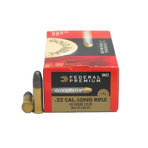 22 Long Rifle Premium Gold Medal, 40 Grains, Lead Ultra Match, Per 50