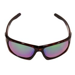 SK Plus Cypress Sunglasses Shiny Brown Tortiseshell Frame, Multi Layer Green Mirror Amber Base Lens