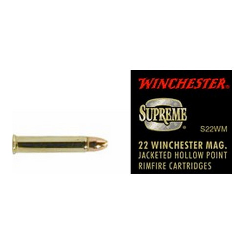 22 Winchester Magnum Supreme, 34 Grains, Jacketed Hollow Point, Per 50