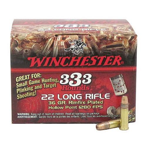 22 Long Rifle Rimfire, 36 Grains, Copper Plated Hollow Point, Per 333