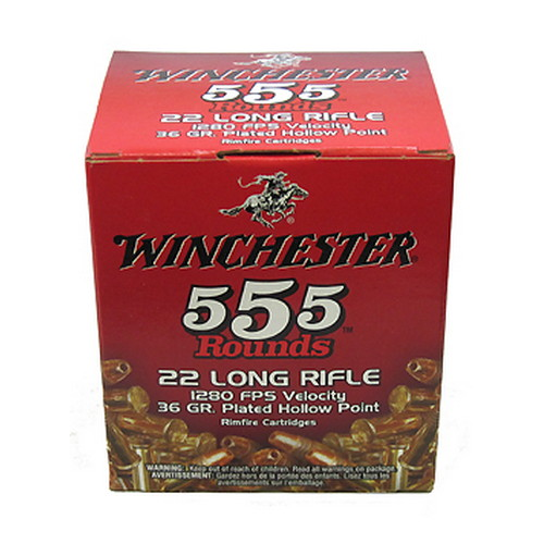 22 Long Rifle 36 Grains, Plated Lead Hollow Point, Per 555
