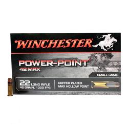 22 Long Rifle 42 Max Rimfire, 42 Grains, Power Point, Per 50