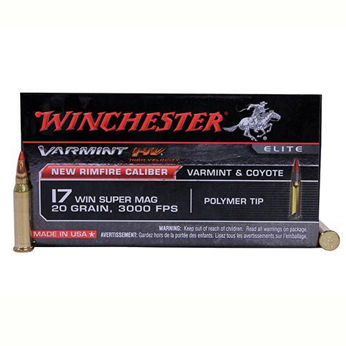 17 Winchester Super Magnum Varmint High Velocity, 20 Grains, Hornady V-Max, Per 50