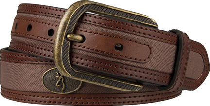 "Mens Browning 32"" Buckmark Buckle Belt Leather Brown"