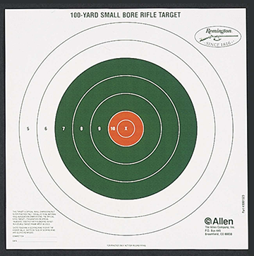 Allen/Remington 100yd Bullseye Sight-In Target