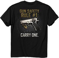 Gun Safety Rule Black Short Sleeve T-Shirt Large