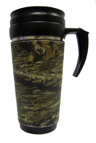 Leather Travel Mug Breakup Camo w/Handle