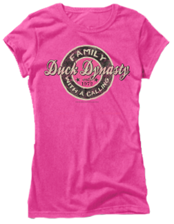 Ladies Duck Dynasty S/S Fitted Tshirt Family Call Pink 2X