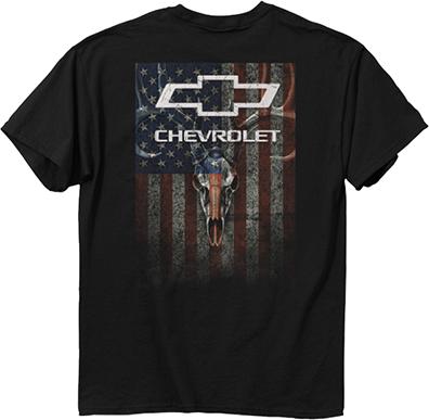 Chevy Skulls & Stripes T-Shirt Black 2XLarge