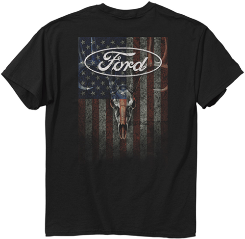 Ford Skulls & Stripes T-Shirt Black Large