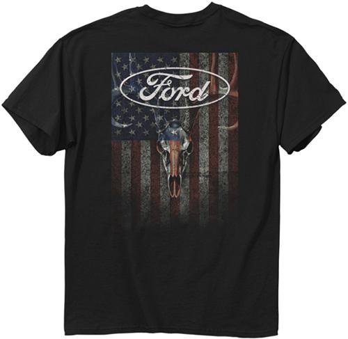 Ford Skulls & Stripes T-Shirt Black 2XLarge