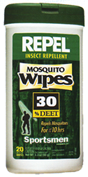 Repel Mosquito Wipes 30% Deet **** 15 Pack ****