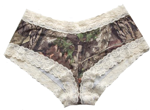 Boy Short Pantie Mossy Oak Breakup Cream Lace Trim Medium