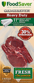 Food Saver Game Saver Bag Rolls Heavy Duty 11in.x12ft. 2 pk.