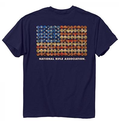 NRA Shot Gun Flag Short Sleeve Shirt 2X