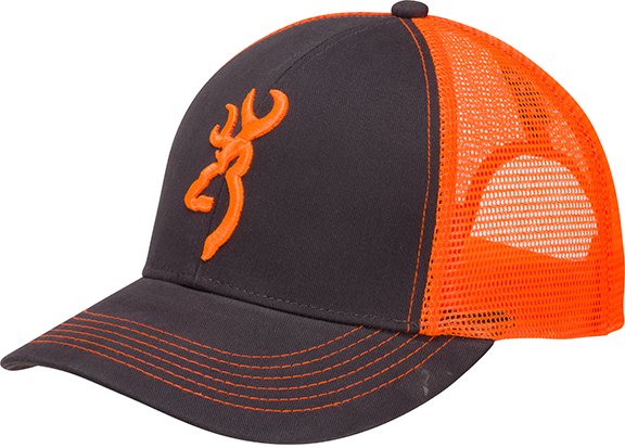 Browning Flashback Neon Cap Charcoal/Neon Orange w/Buckmark