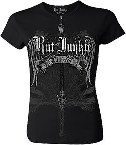 Ladies Rutt Junkie Addicted Wings S/S Shirt Black Large