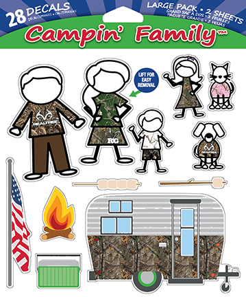 Realtree Camping Family Decal Set 2 Sheets / 28 Decals