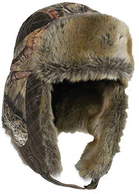 Mossy Oak Breakup Country Fleece Trapper Lined w/Fur Hat