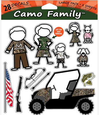 Realtree Camo Family Decal Set 2 Sheets / 28 Decals