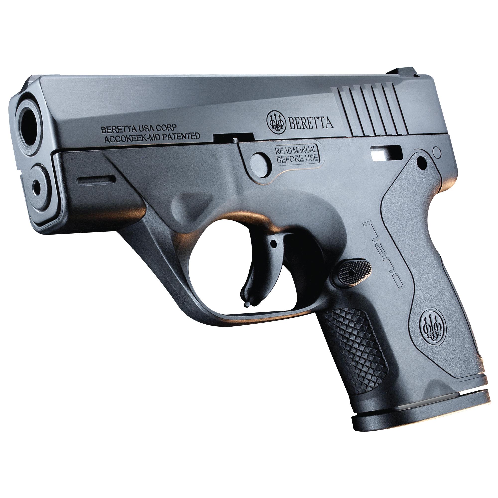 """Beretta Nano 9mm 3"""" 6&8rd Blk 3 Dot"""