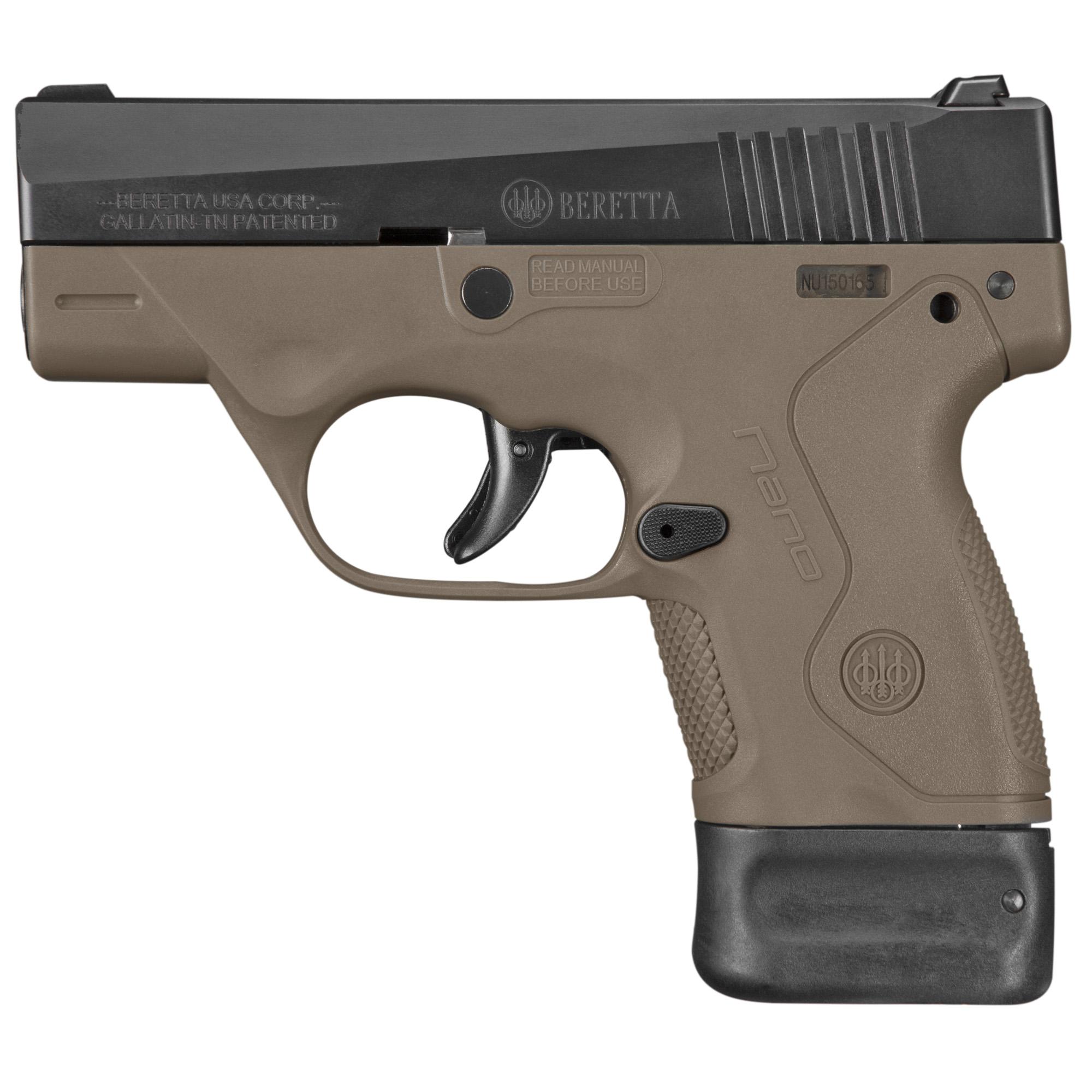 """Beretta Nano 9mm 3"""" 6&8rd Fde 3 Dot"""
