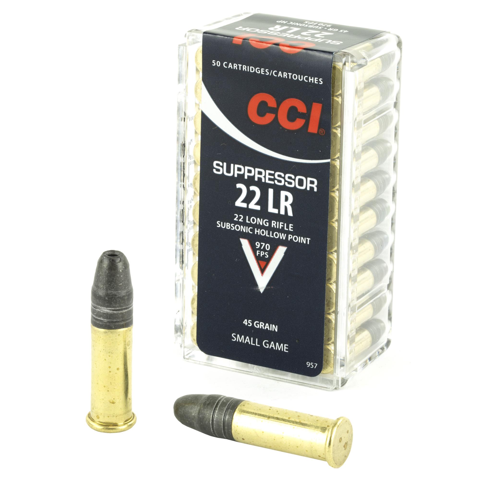 Cci/speer Suppressor, 22lr, 45 Grain, Hollow Point, 50 Round Box 957...