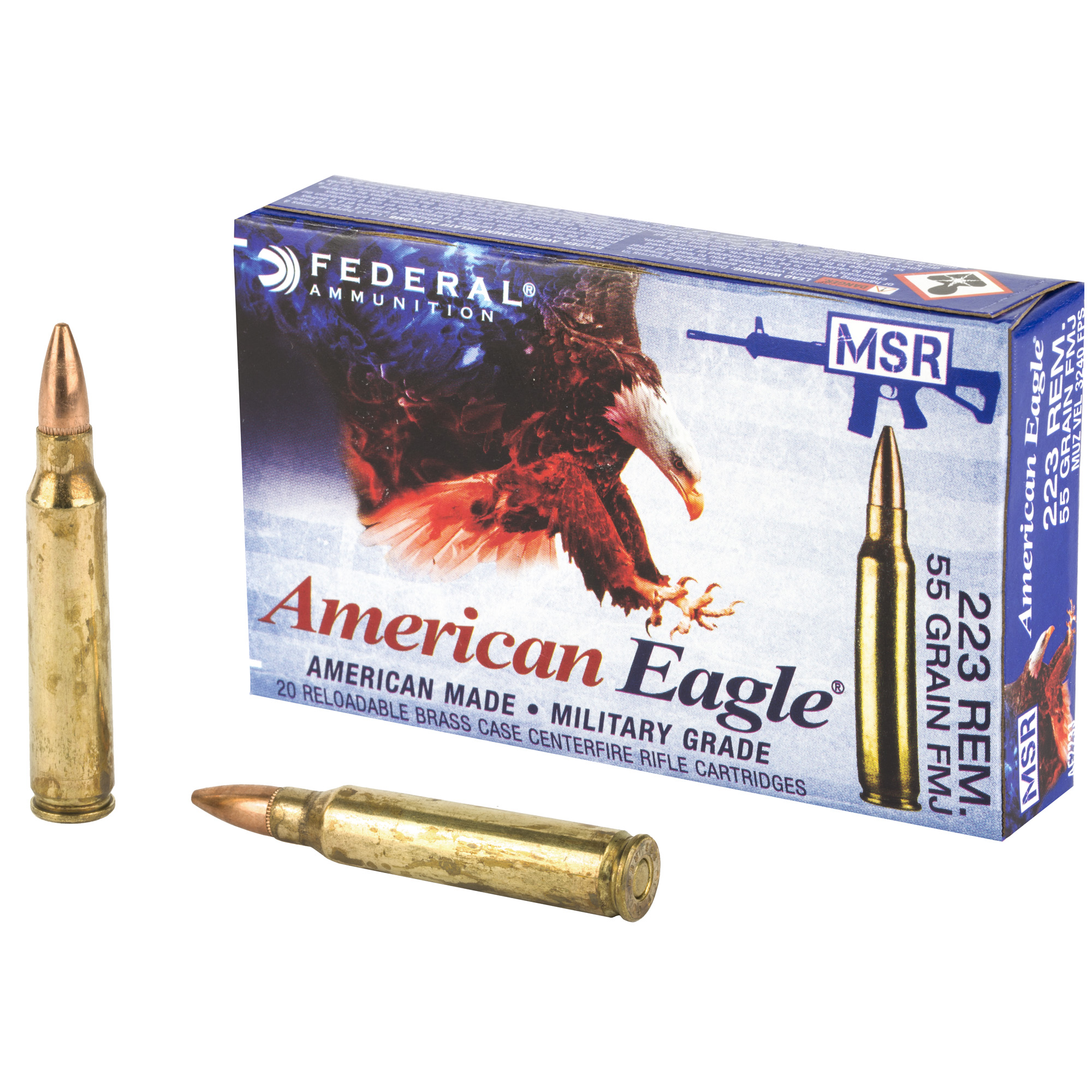 Fed Am Eagle 223rem 55g Fmjlc 20/500