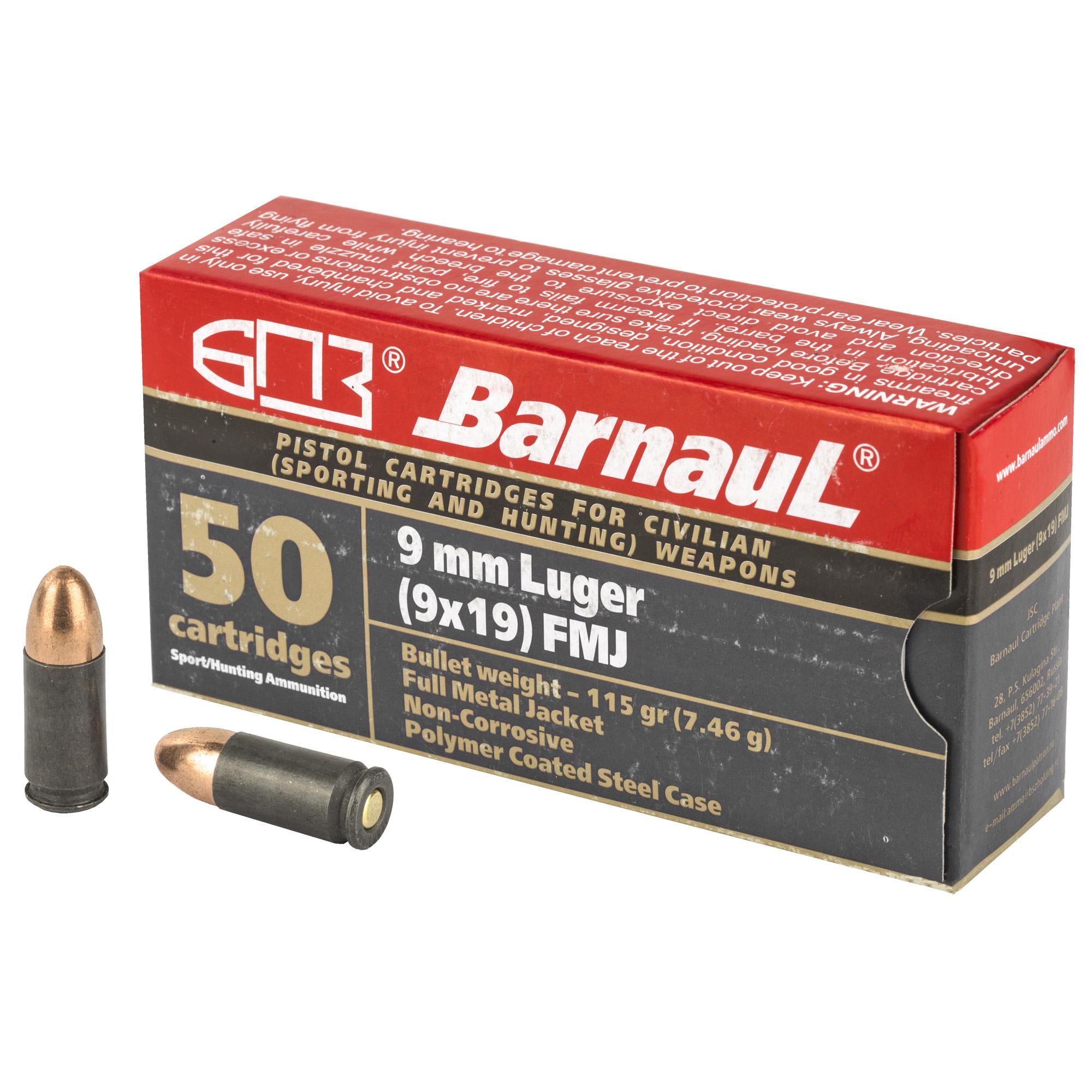 Barnaul 9mm Lgr 115gr Fmj 50/500
