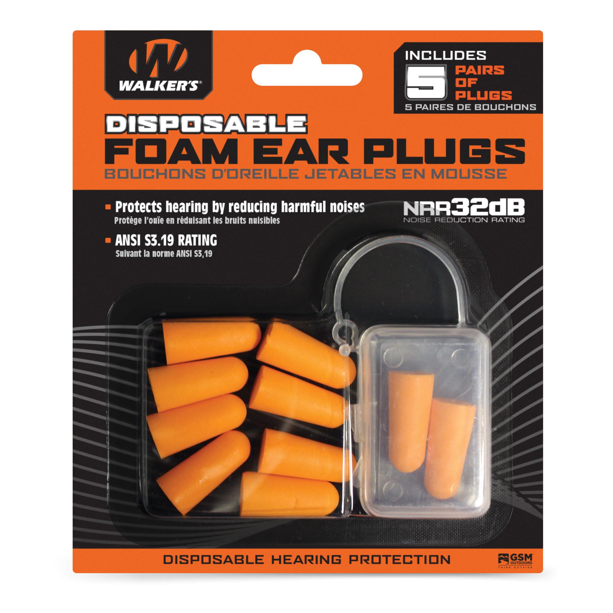 Walkers Foam Ear Plugs 5pk Blister