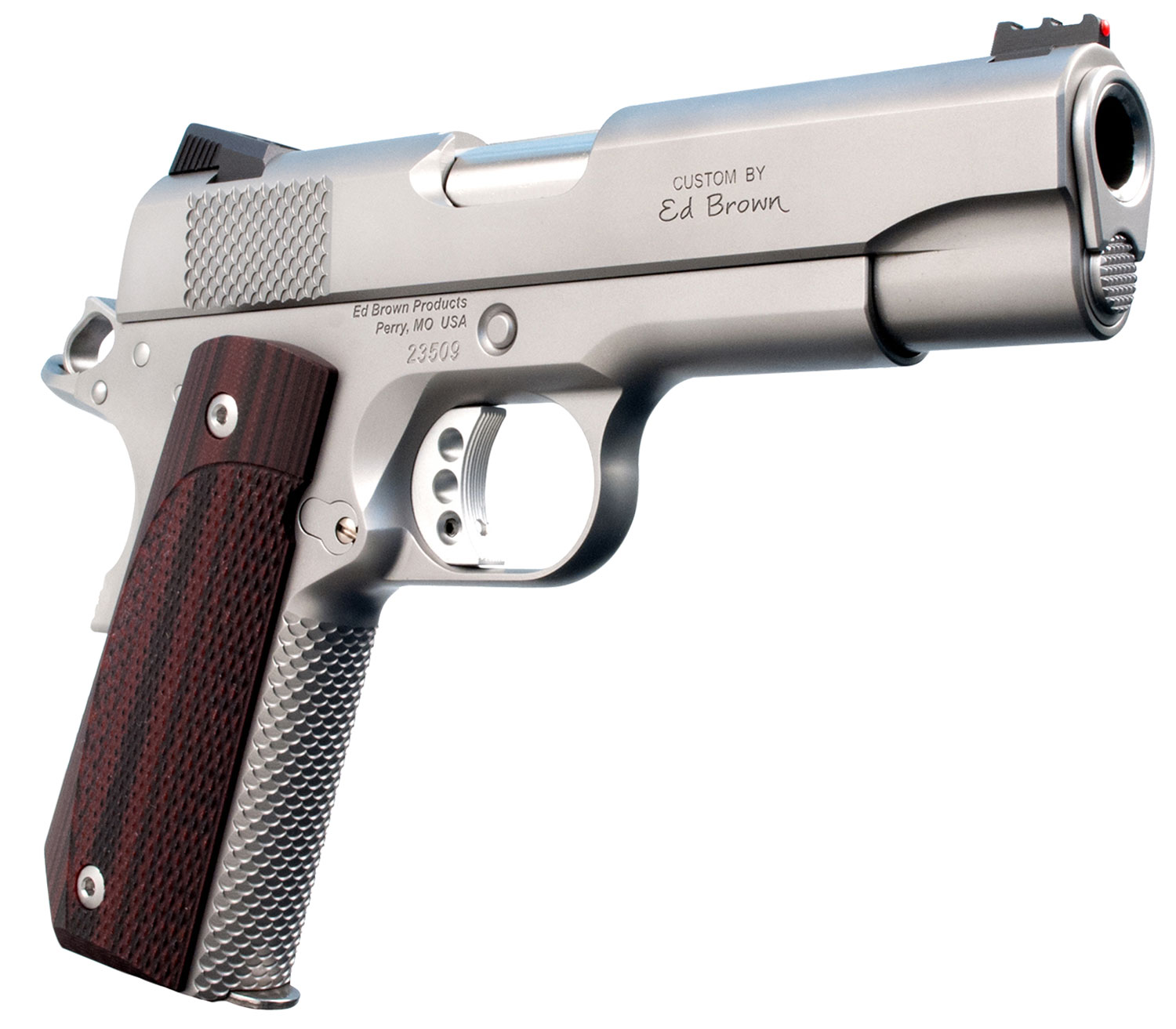 "Ed Brown KC18SS Kobra Carry Single 45 Automatic Colt Pistol (ACP) 4.25"" 7+1 FOF Laminate Wood Grip Stainless Steel"