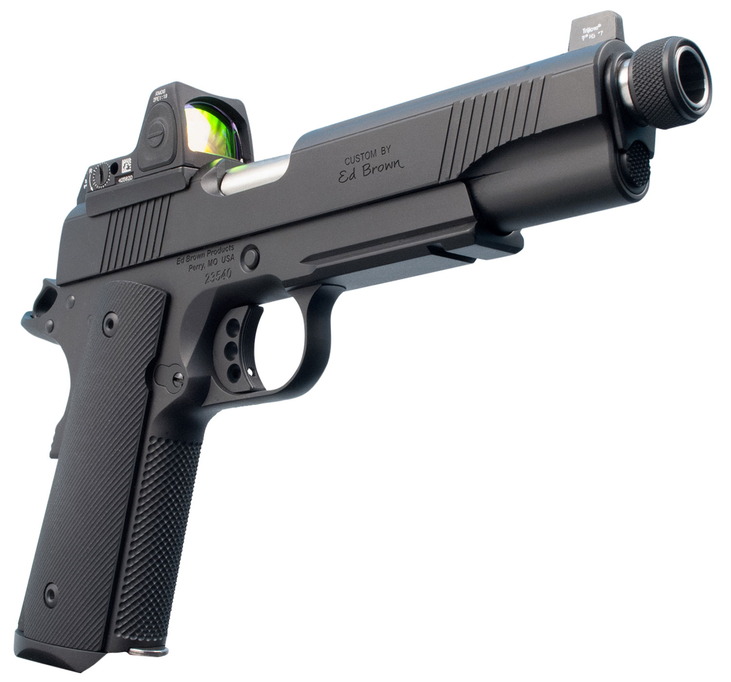 "Ed Brown SR18G4 Special Forces SR Single 45 Automatic Colt Pistol (ACP) 5"" TB 7+1 NS/Red Dot Black Polymer Grip Black Gen4"