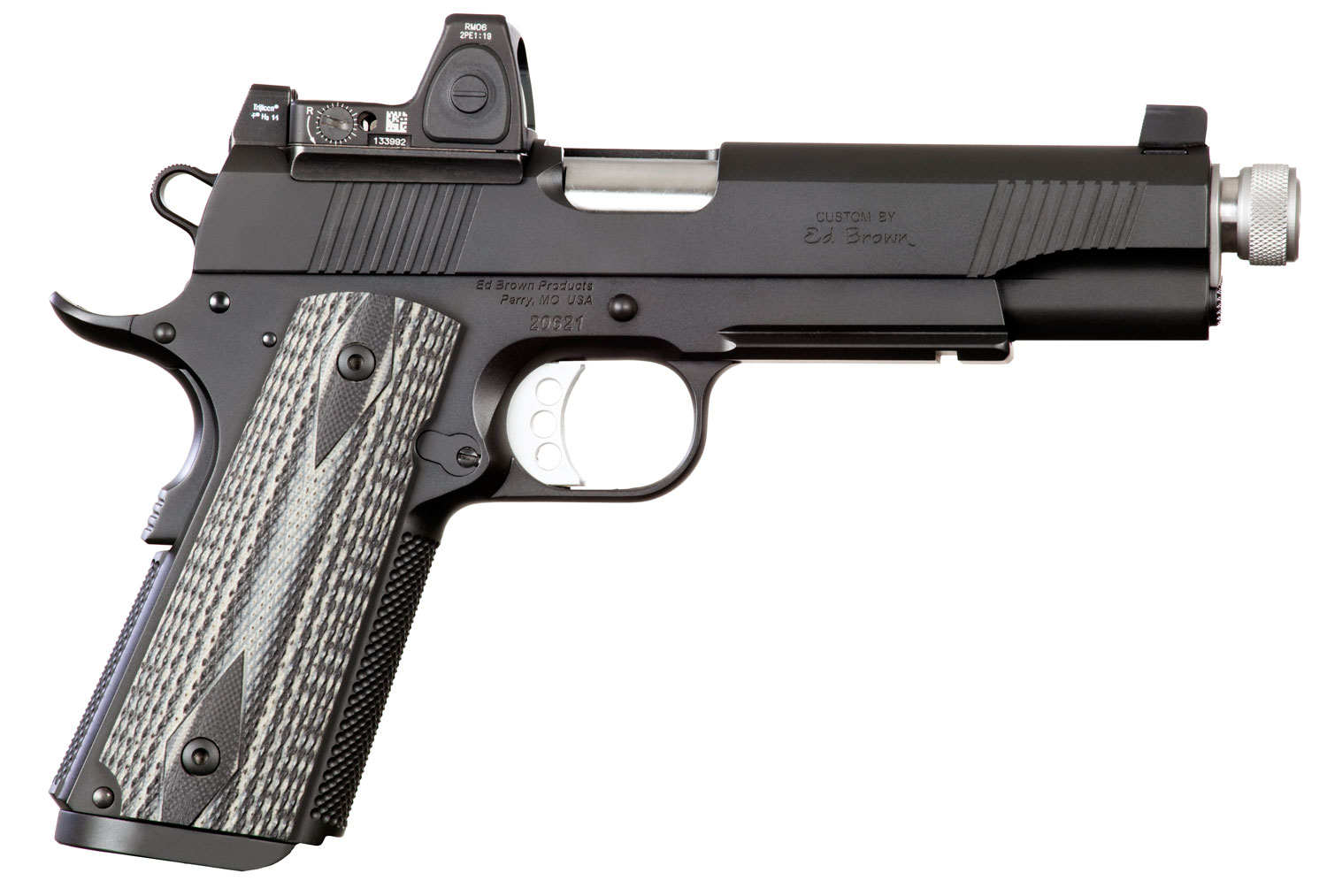 "Ed Brown SF3SSG4LRSR Special Forces SR Single 45 Automatic Colt Pistol (ACP) 5"" TB 7+1 NS Red Dot Blk/Gray G10 Grip Blk Gen4"