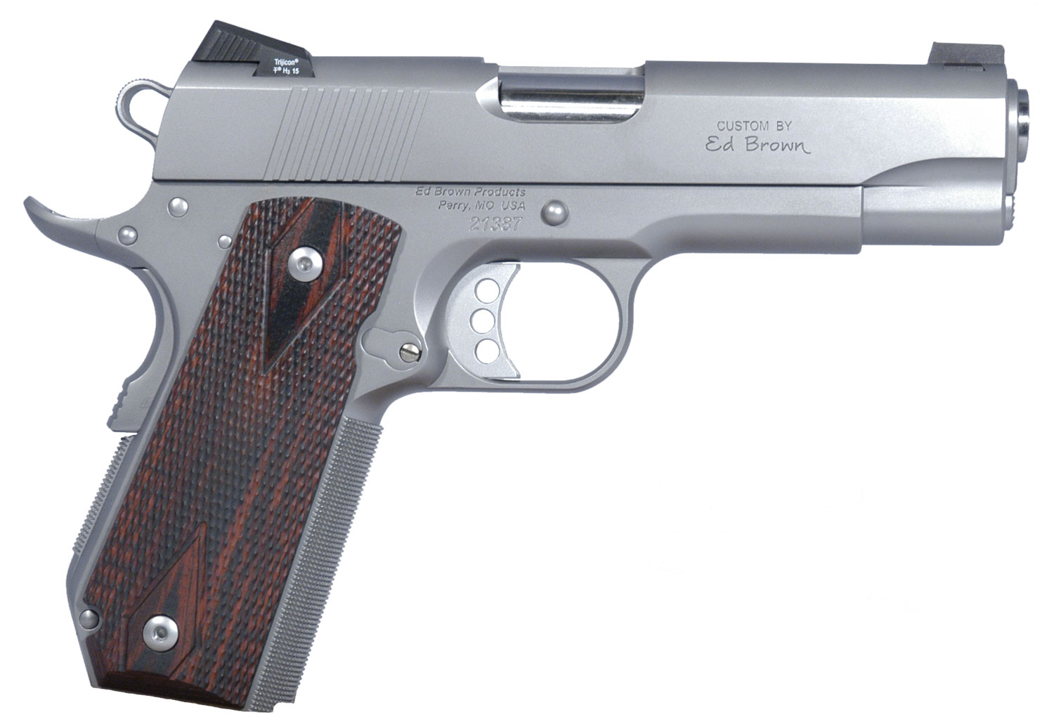 """Ed Brown ECSS Executive Carry Single 45 Automatic Colt Pistol (ACP) 4.25"""" 7+1 Laminate Wood Grip Stainless"""