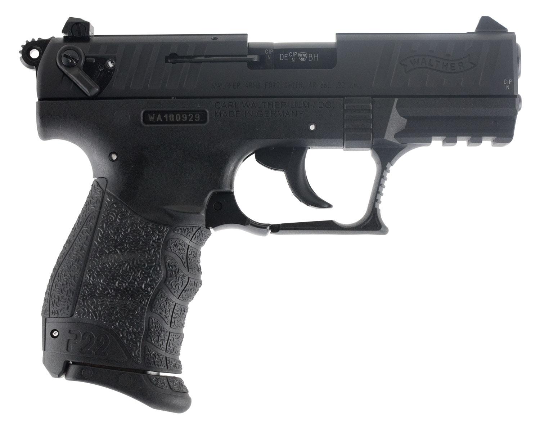 "Walther Arms 5120500 P22 QD Single/Double 22 Long Rifle (LR) 3.42"" TB 10+1 Black Interchangeable Backstrap Grip Black"