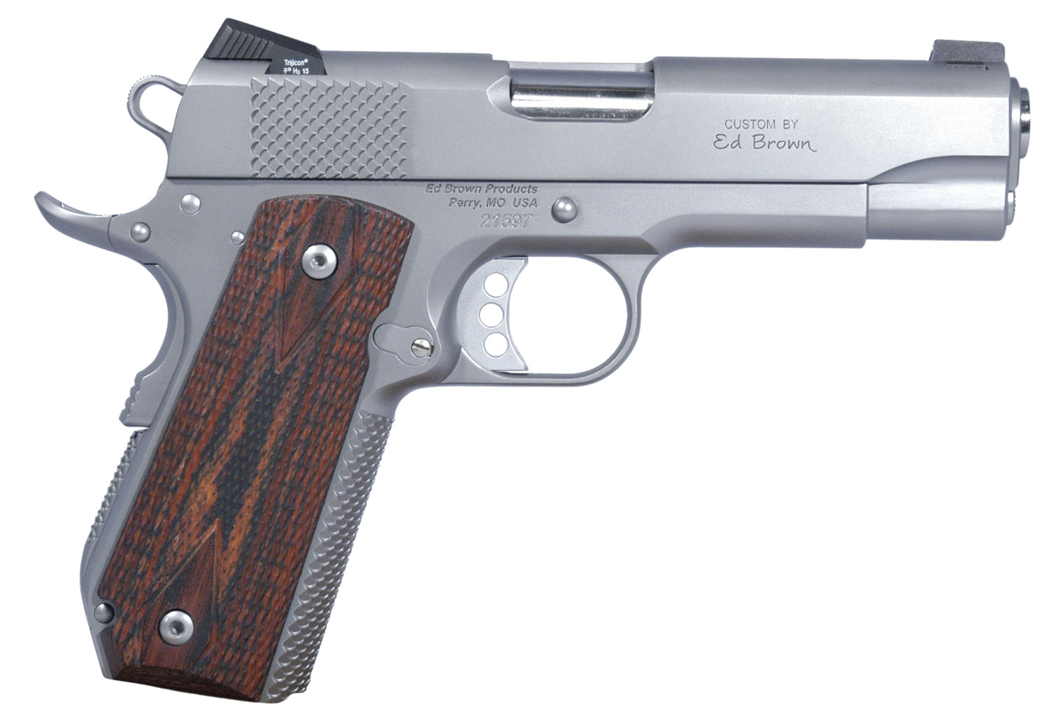 "Ed Brown KCSSCAL2 Kobra Carry *CA Compliant* Single 45 Automatic Colt Pistol (ACP) 4.25"" 7+1 Laminate Wood Grip Stainless"