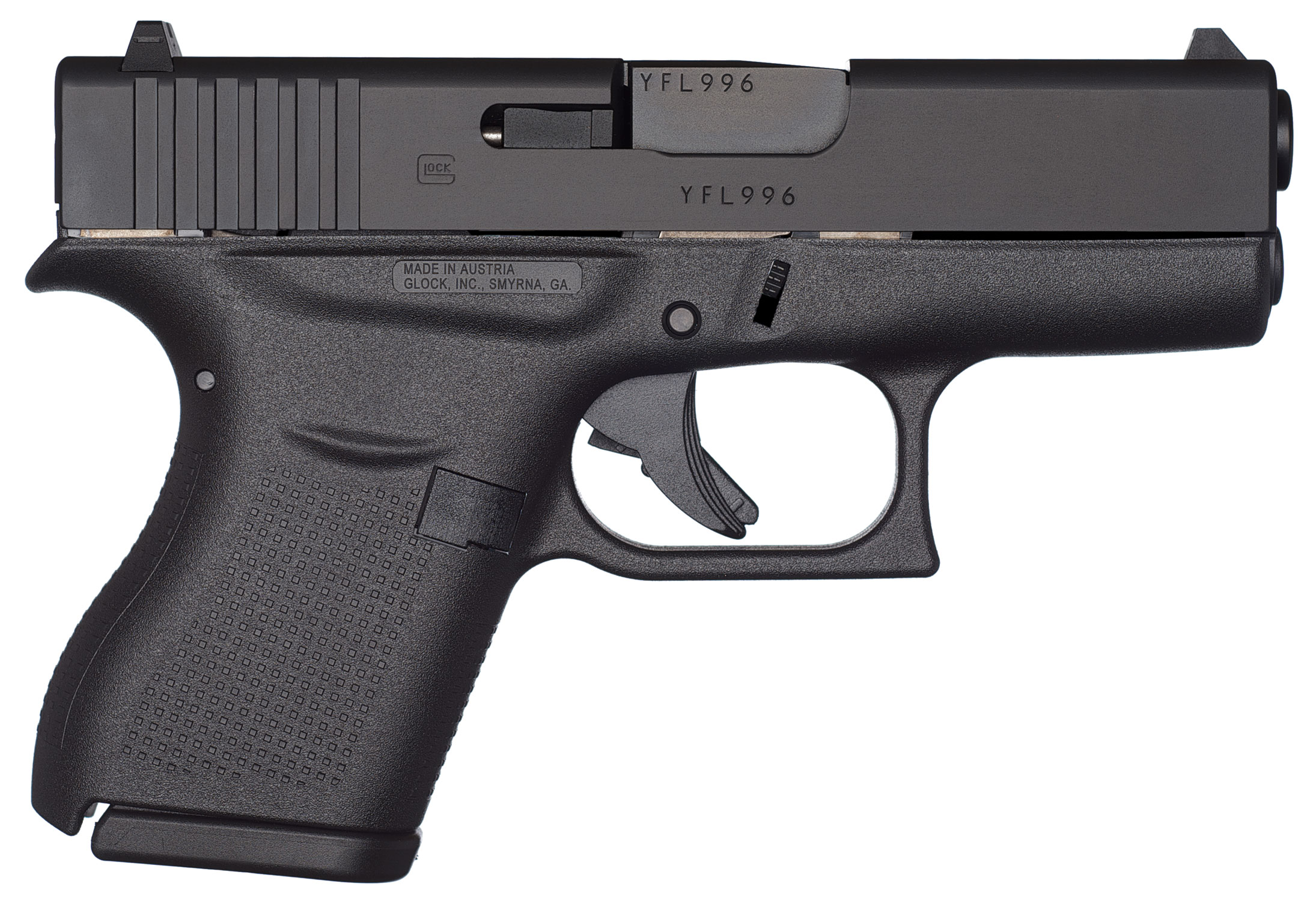 "Glock PI4350201 G43 Subcompact Double 9mm Luger 3.39"" 6+1 Black Polymer Grip/Frame Grip Black"