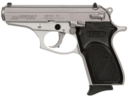 "Bersa T380NKL8 Thunder 380 Single/Double 380 Automatic Colt Pistol (ACP) 3.5"" 8+1 Black Polymer Grip Nickel"
