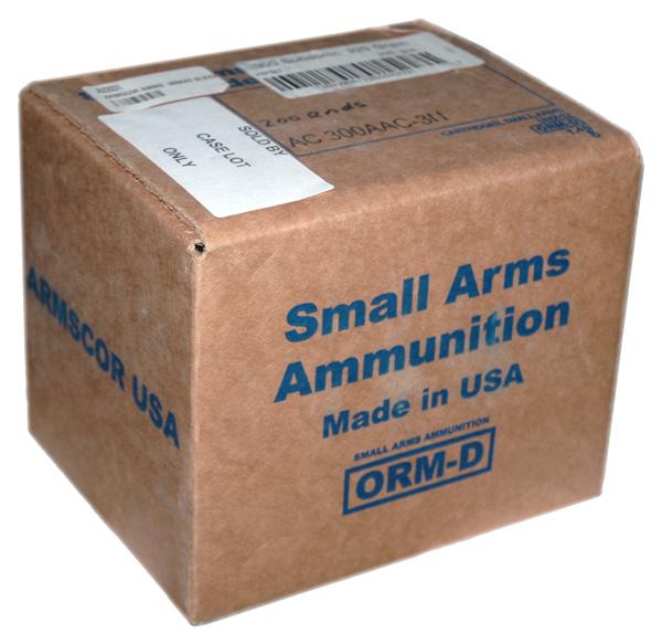 ARMSCOR AMMO .300AAC BLK(CASE) SUBSONIC 220GR. HPBT 200RD CS.