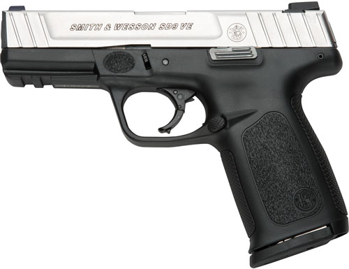 "S&W SD9VE 9MM 4"" FS 16-SHOT SILVER SS SLIDE/BLACK POLY"